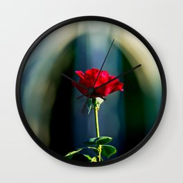 Bless You Red Rose Flower In Heavenly Light Wall Clock