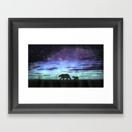 Aurora borealis and polar bears (black version) Framed Art Print
