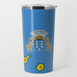 Canary Islands Flag with Map of the Canary Islands Islas Canarias Travel Mug
