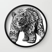 ornate Wall Clocks featuring Ornate Bear by BIOWORKZ