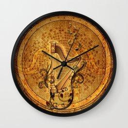 Golden harp Wall Clock