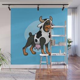 Doberman in a Cow Costume Wall Mural