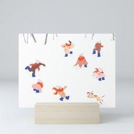 Nudist Snowball Fight Mini Art Print