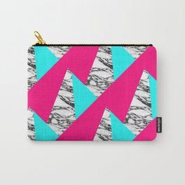Modern Pink Teal Black White Marble Geometric Carry-All Pouch