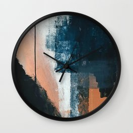Vienna: a minimal, abstract mixed-media piece in pinks, blue, and white by Alyssa Hamilton Art Wall Clock