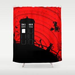 Tardis Halloween Shower Curtain