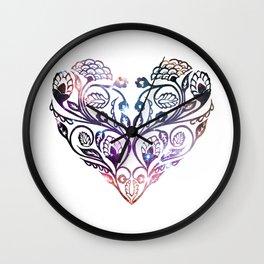 Galaxy Print Floral Heart Wall Clock