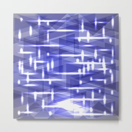 Glowing night geometry from celestial and blue cosmic stripes and lines. Metal Print