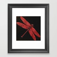Red Dragonfly Black Granite by Catherine Framed Art Print