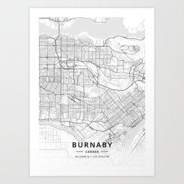 Burnaby, Canada - Light Map Art Print