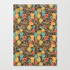 Robots on brown. Canvas Print