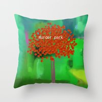 dramatical murder Throw Pillows featuring murder park by Robert Morris
