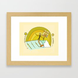 Protect and Love the Sea Lady Slider // retro surf art by surfy birdy Framed Art Print