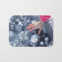 Woman hand on Baikal ice texture. Bath Mat