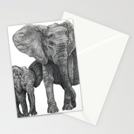 African Elephant and Calf Stationery Cards