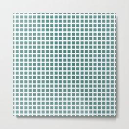 Grid Pattern 312 Teal Green Metal Print