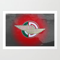 ducati Art Prints featuring DUCATI MECCANICA by STEELBACK