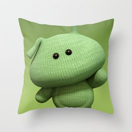 Green Alien Soft Toy - Sci-Fi Art For a Child's Bedroom Throw Pillow