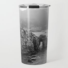 Ocean Arches | Black and White Nature Landscape Photography in California Travel Mug