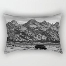 Bison and the Tetons Rectangular Pillow