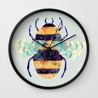 bee and puppycat Wall Clocks featuring bee by Yellow Button Studio