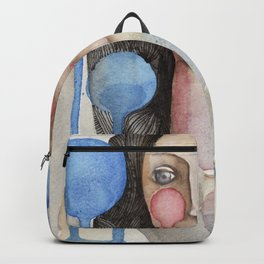 Woman with falling bubbles Backpack
