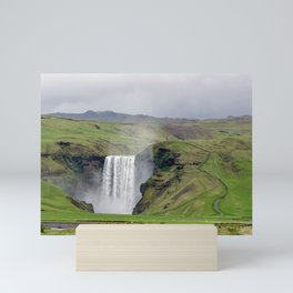 Skogafoss waterfall - Skogar village, Iceland Mini Art Print