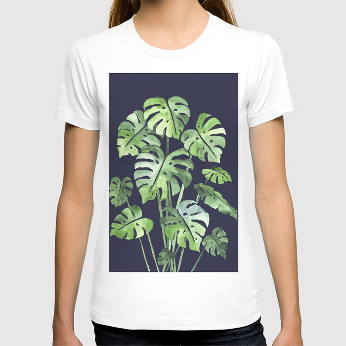 Delicate Monstera Blue #society6 T-shirt