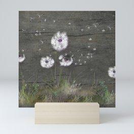 Rustic Barn Wood Series: Dandelion Seeds Fly Away Mini Art Print