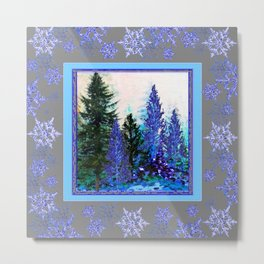 GREY WINTER SNOWFLAKE  CRYSTALS FOREST ART Metal Print