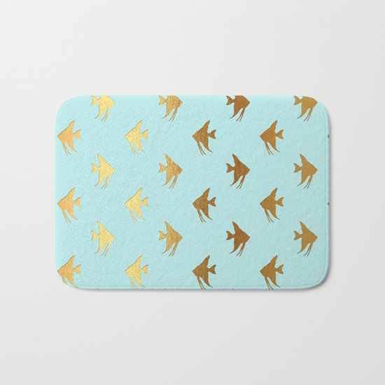Gold Metal Foil Fish Pattern-Golden Fishes on Aqua Bath Mat