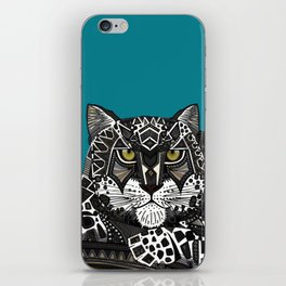 snow leopard teal iPhone Skin