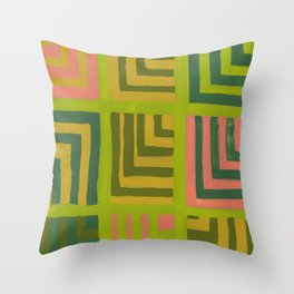 Painted Color Block Squares Throw Pillow