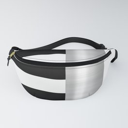 Black & White Stripes & Silver Metallic Accent Fanny Pack