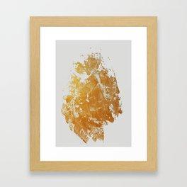 Gold Daubs On Light Grey Framed Art Print