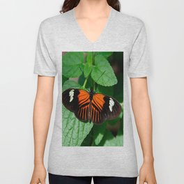 Perched Doris Longwing Butterfly Unisex V-Neck