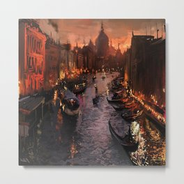 river venice gondolas italy artwork painting Metal Print