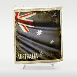 Grunge sticker of Australia flag Shower Curtain