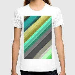 green brown yellow grey stripes T-shirt