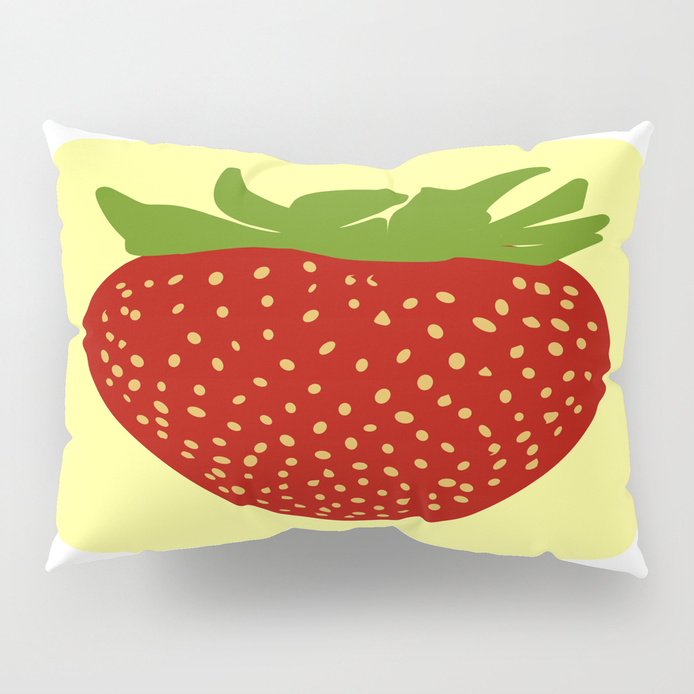 Red Strawberry Fruit Pillow Sham by Etnousta PSH7269961