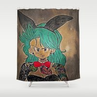 dragon ball Shower Curtains featuring First Lady Of Dragon Ball  by Artistic