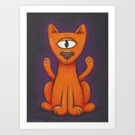 3-Eyed Cat Art Print