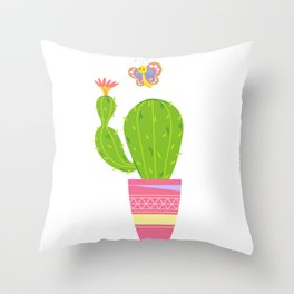 Cactus With Butterfly Throw Pillow