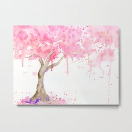 Watercolor Abstract Cherry Tree Pink Metal Print