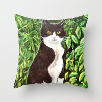 kitty Throw Pillows featuring Kitty by gretzky