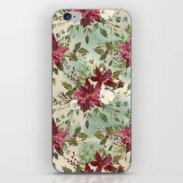 Hand painted burgundy white green watercolor floral iPhone Skin