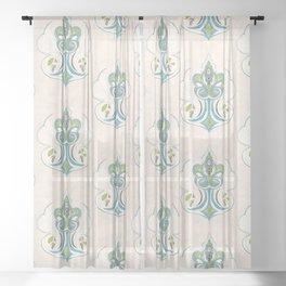 Medallion Paisley - soft colors Sheer Curtain