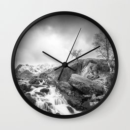 Stormy Mountains Wall Clock