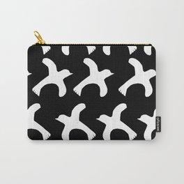 Linocut birds minimal black and white modern pattern print minimalist decor Carry-All Pouch
