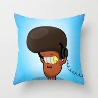 bruno mars Throw Pillows featuring BRUNO by Piktorama
